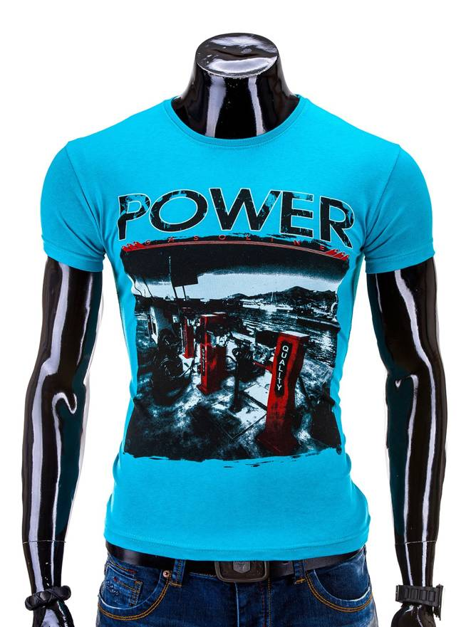 T-shirt S548 - Turkusowy