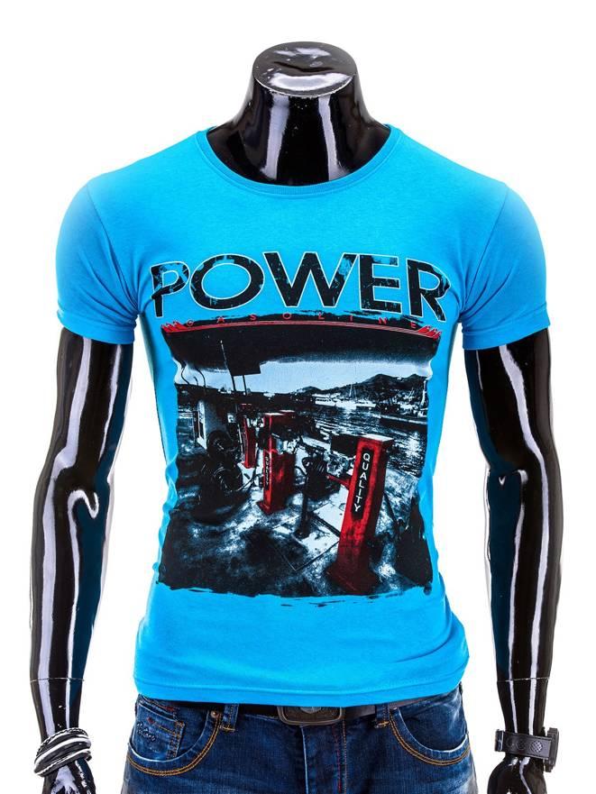 T-shirt S548 - Niebieski