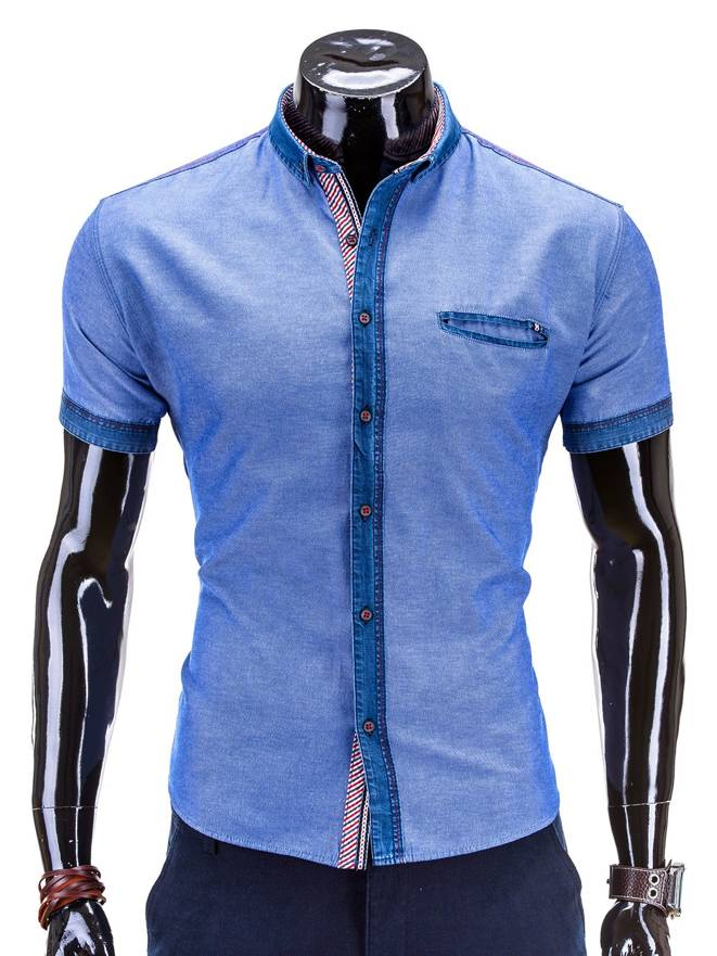 Koszula K268 - Jeansowa