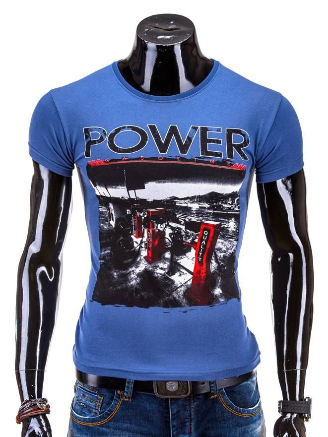 T-shirt S548 - Granatowy