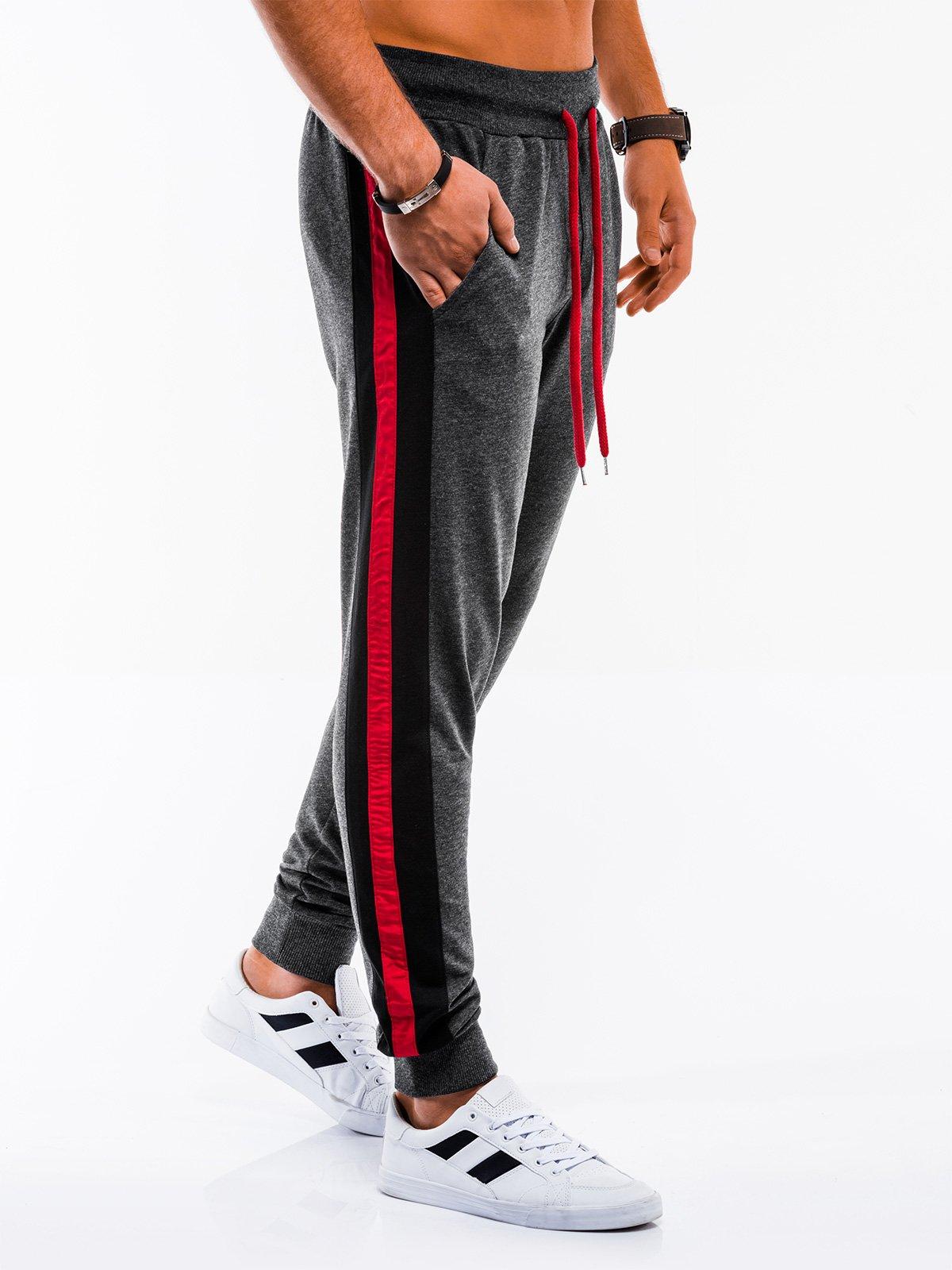 Spodnie męskie dresowe P715 - grafitowe
