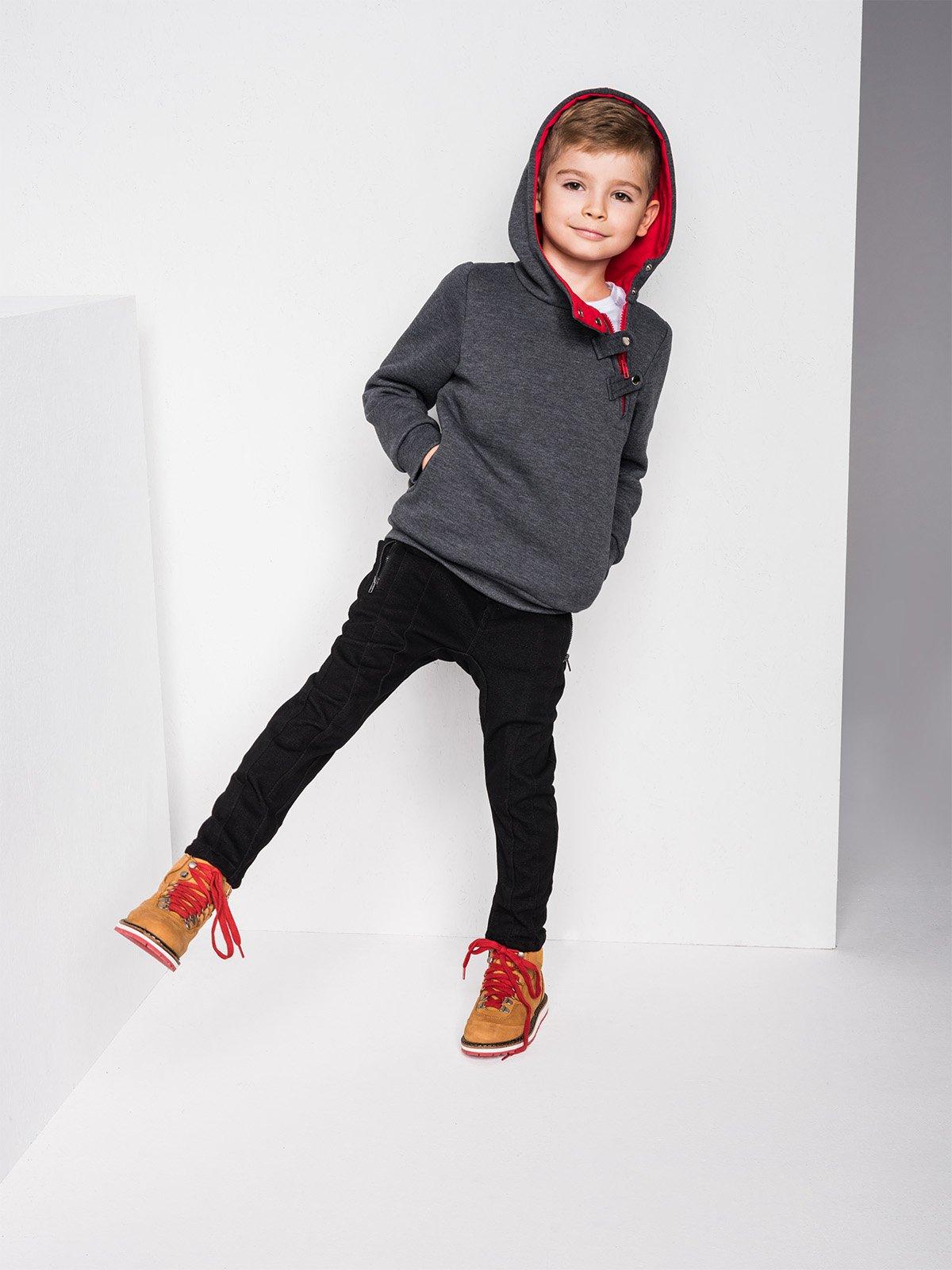 Bluza Kb005 Kids - Grafitowa/czerwona