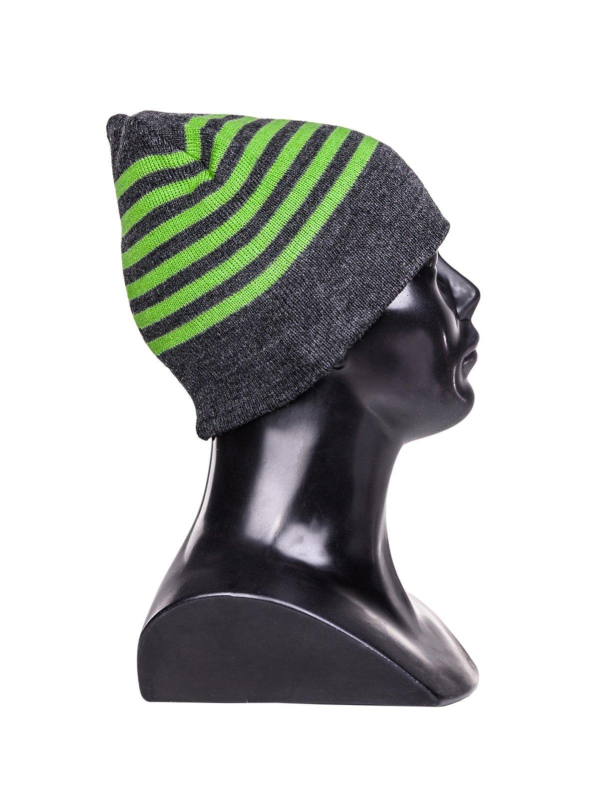Czapka A066 - Grafitowa/zielona