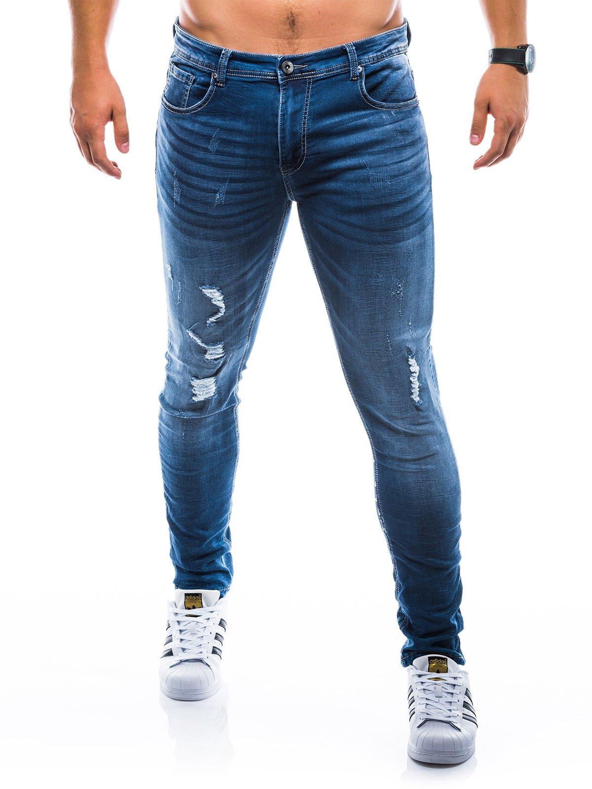 Spodnie męskie jeansowe P776 - niebieskie