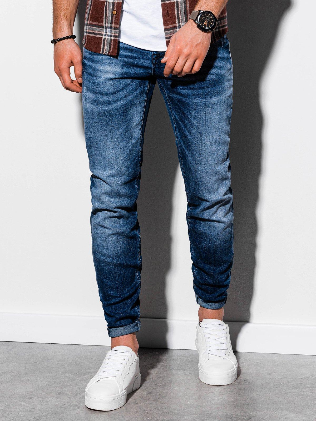 Spodnie męskie jeansowe P858 - niebieskie