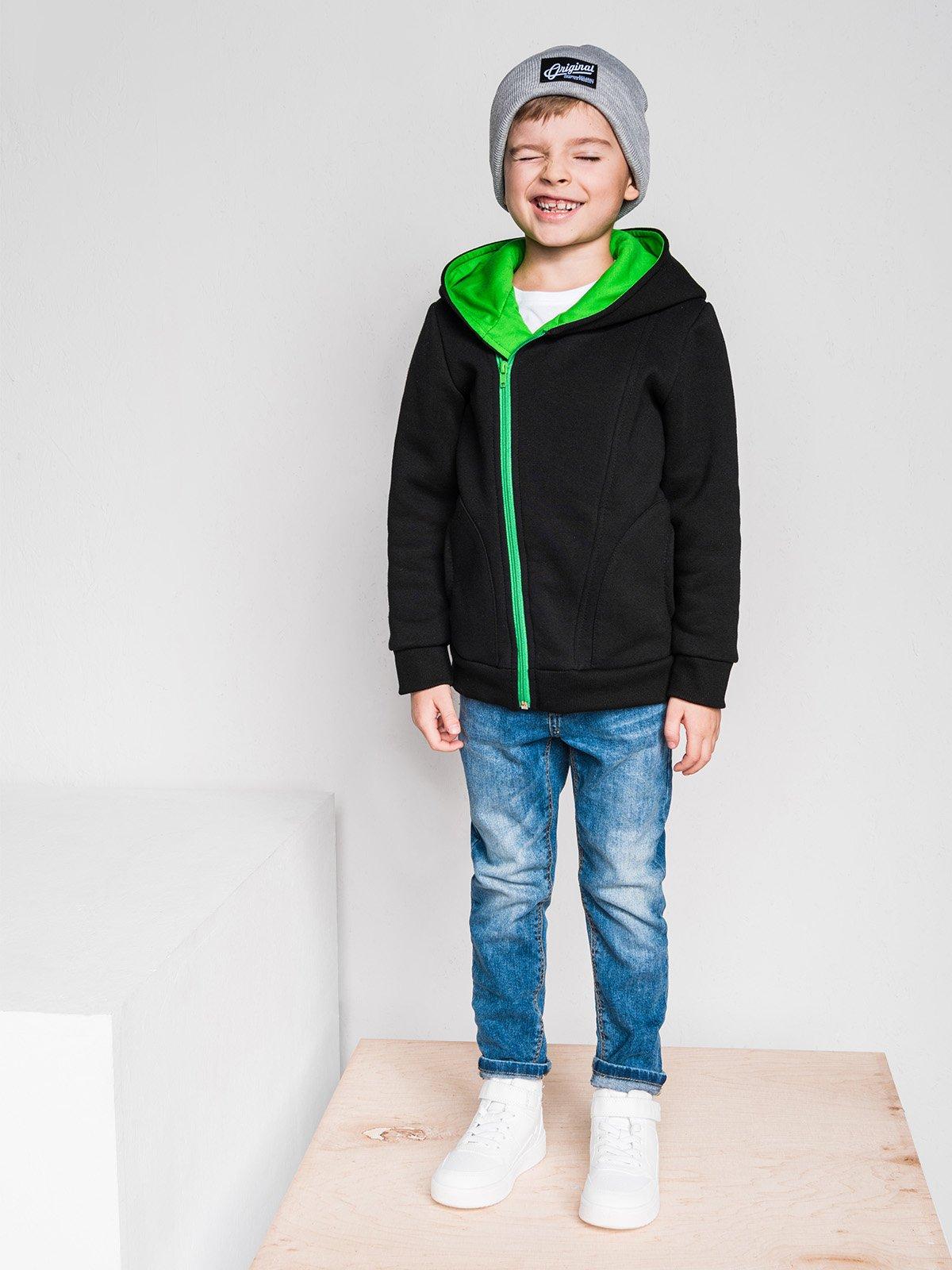 Bluza Kb001 Kids - Czarna/zielona