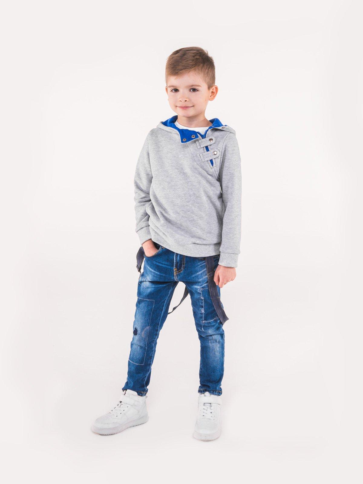 Bluza Kb005 Kids - Szara/niebieska