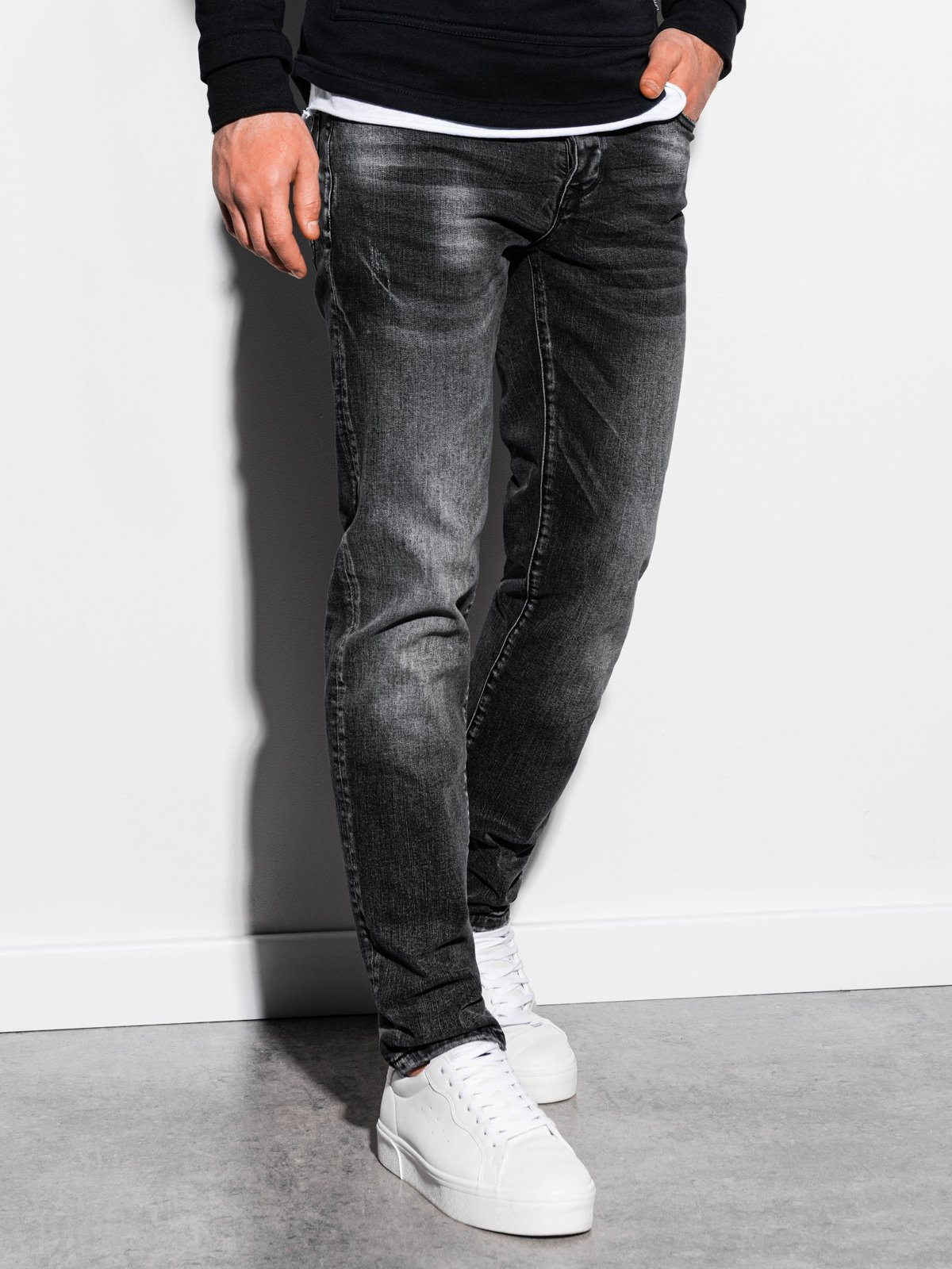 Spodnie męskie jeansowe P858 - czarne