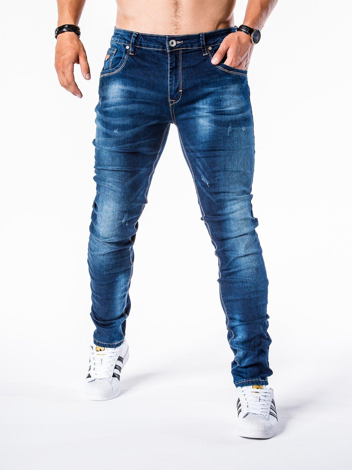 Spodnie męskie jeansowe P566 - granatowe