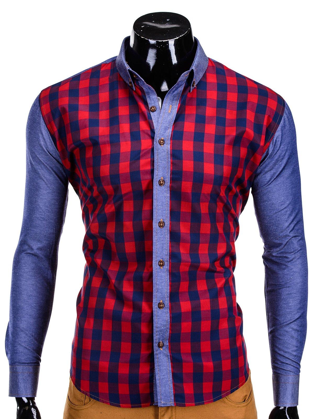 Koszula K301 - Granatowo-czerwona