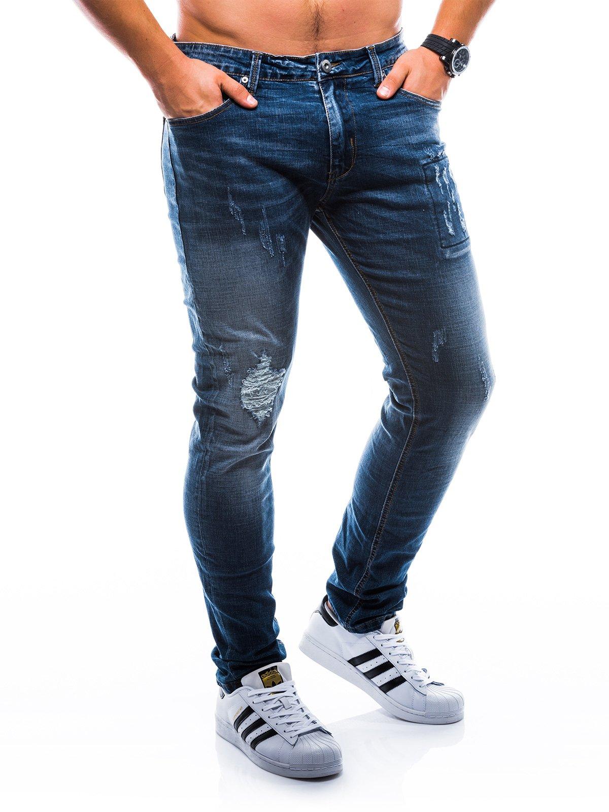 Spodnie męskie jeansowe P768 - granatowe