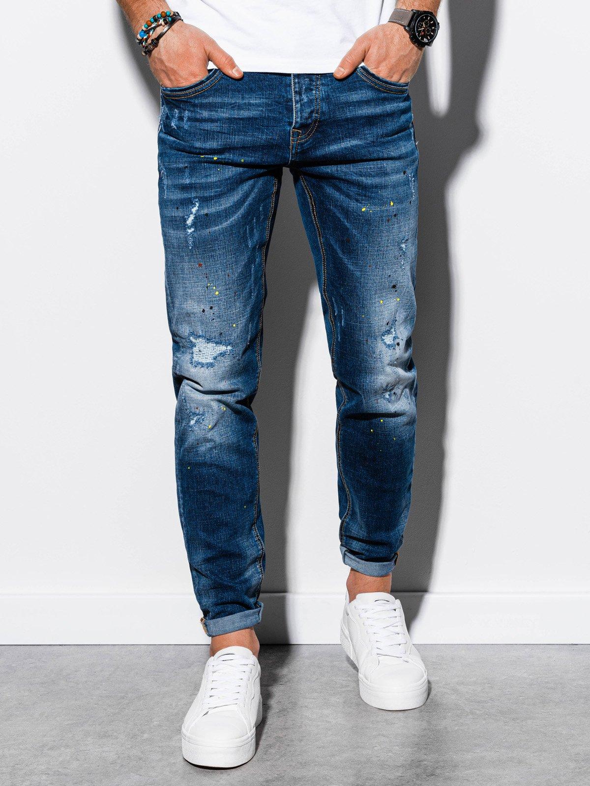 Spodnie męskie jeansowe P859 - niebieskie