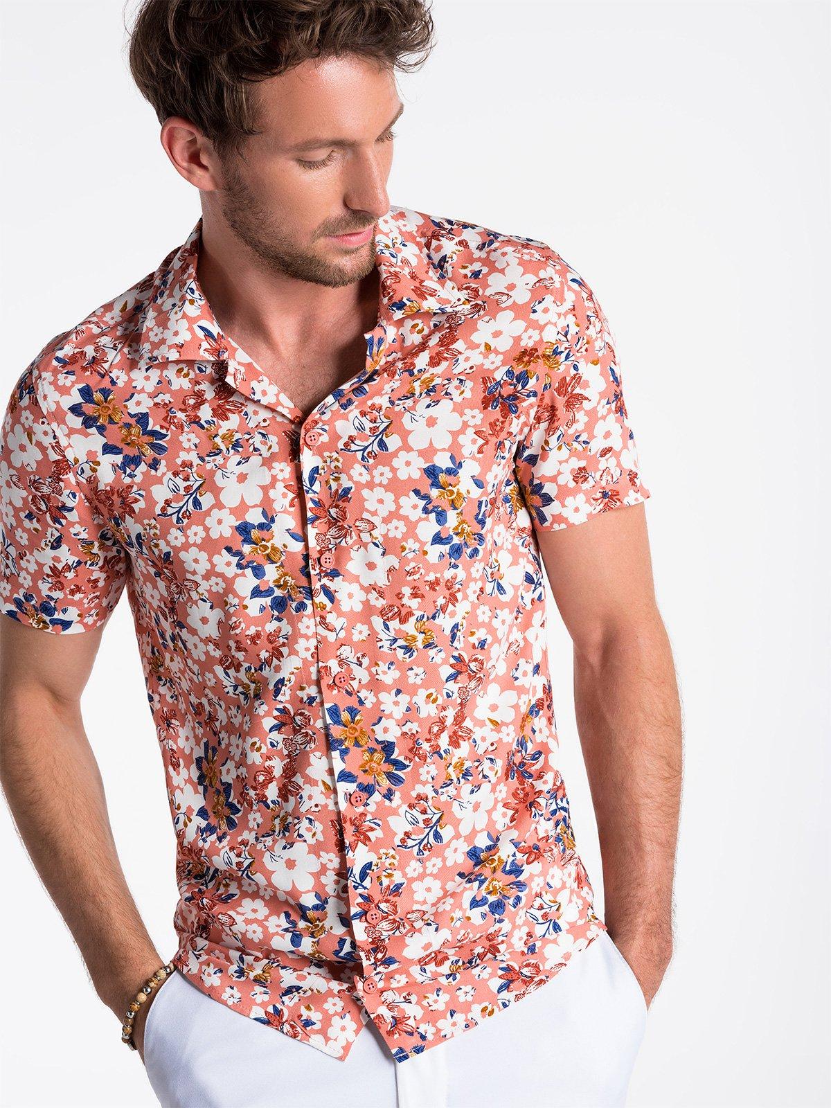 Koszula męska z krótkim rękawem K485 - różowa