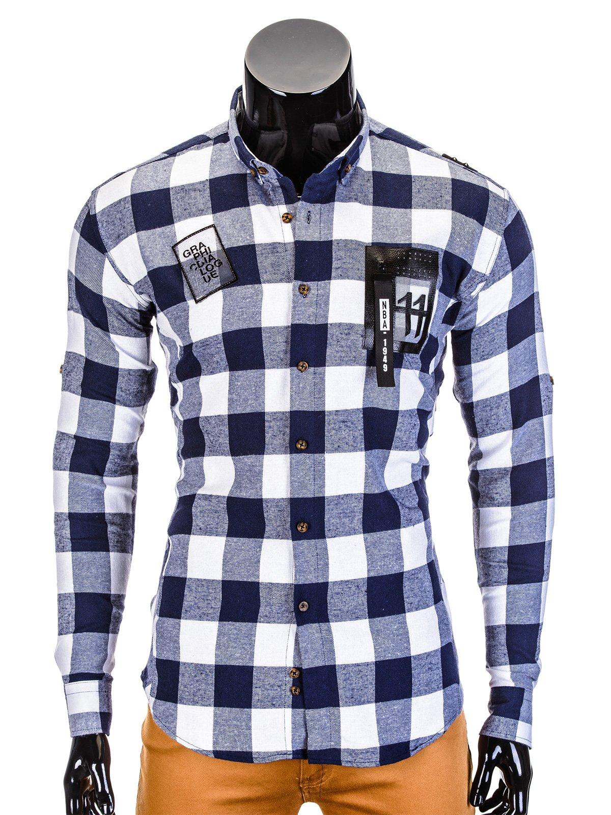 koszule, koszule w kratkę koszula mĘska w kratĘ z dŁugim rĘkawem k369 - granatowa - m