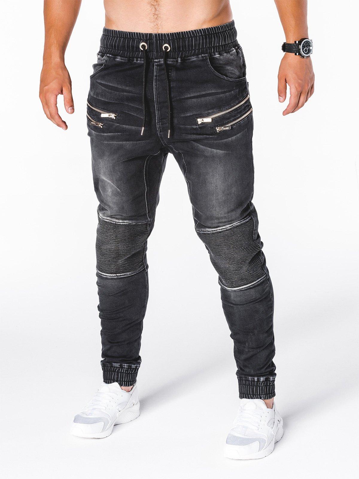 Spodnie męskie jeansowe joggery P405 - czarne