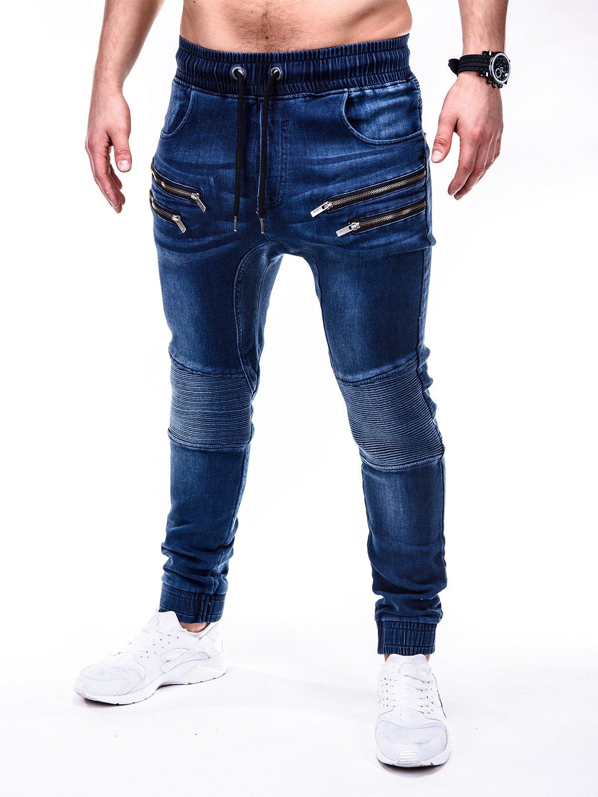 Spodnie męskie jeansowe joggery P405 - granatowe