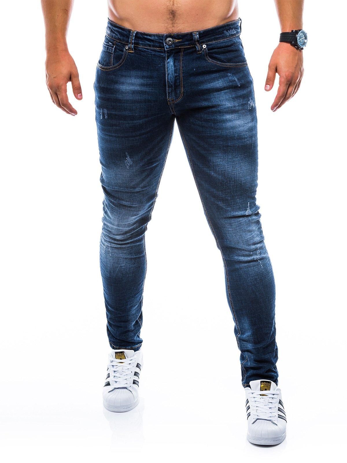 Spodnie męskie jeansowe P750 - granatowe