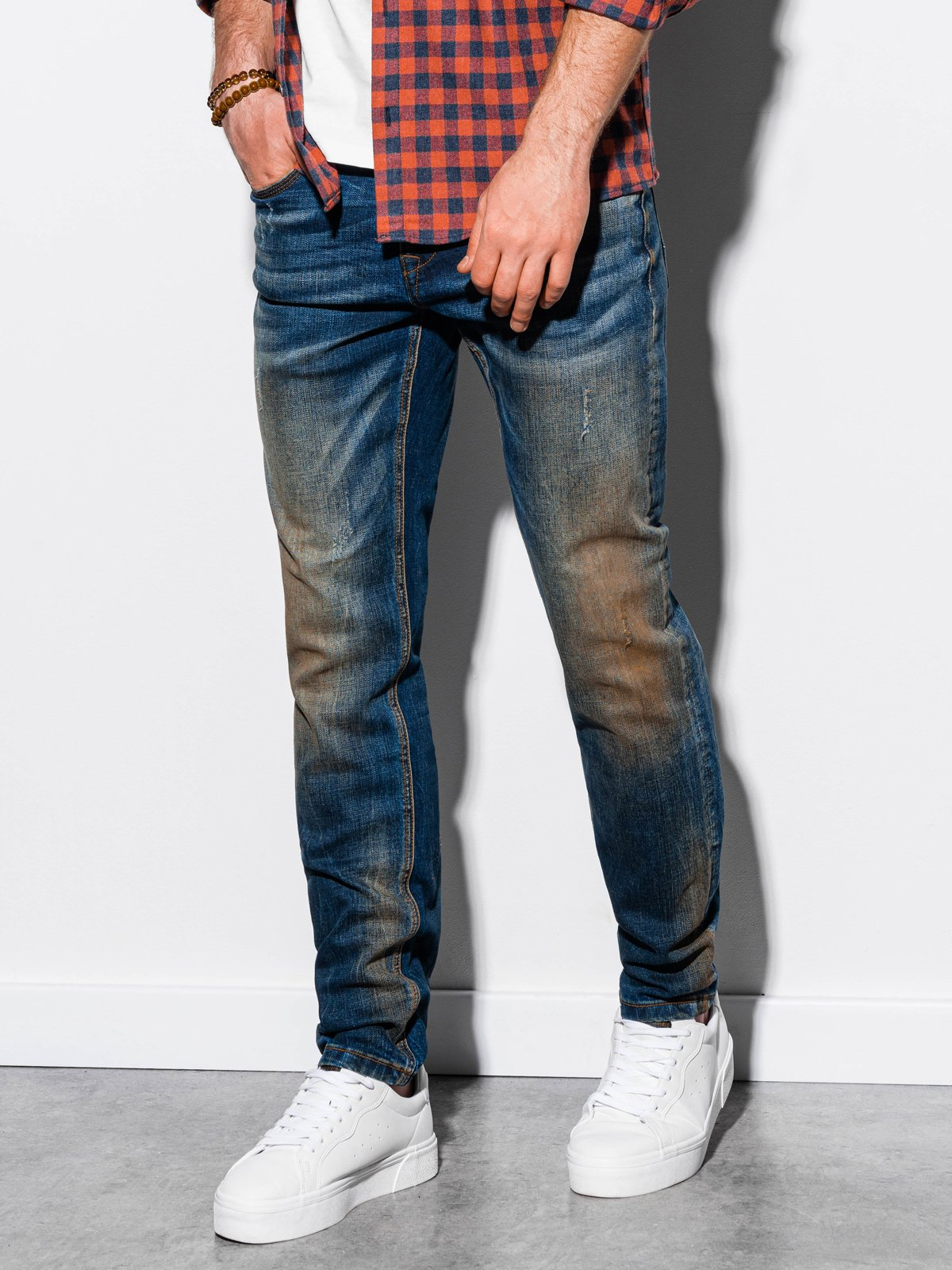 Spodnie męskie jeansowe P860 - niebieskie