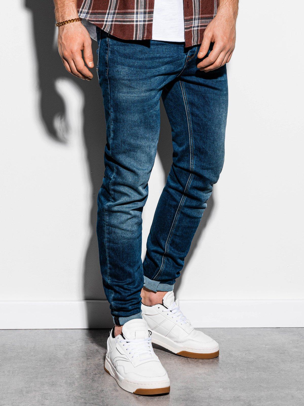 Spodnie męskie jeansowe P864 - ciemny jeans