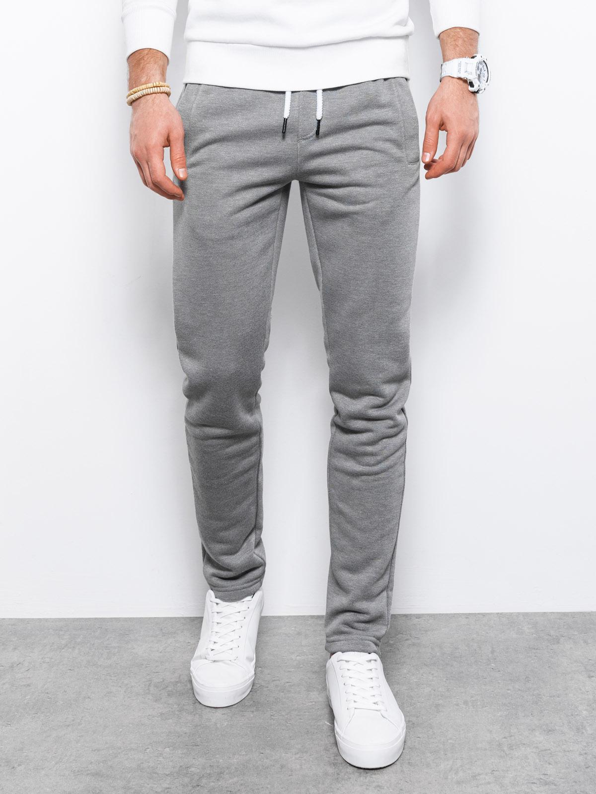 Spodnie męskie dresowe P866 - szare/melanżowe