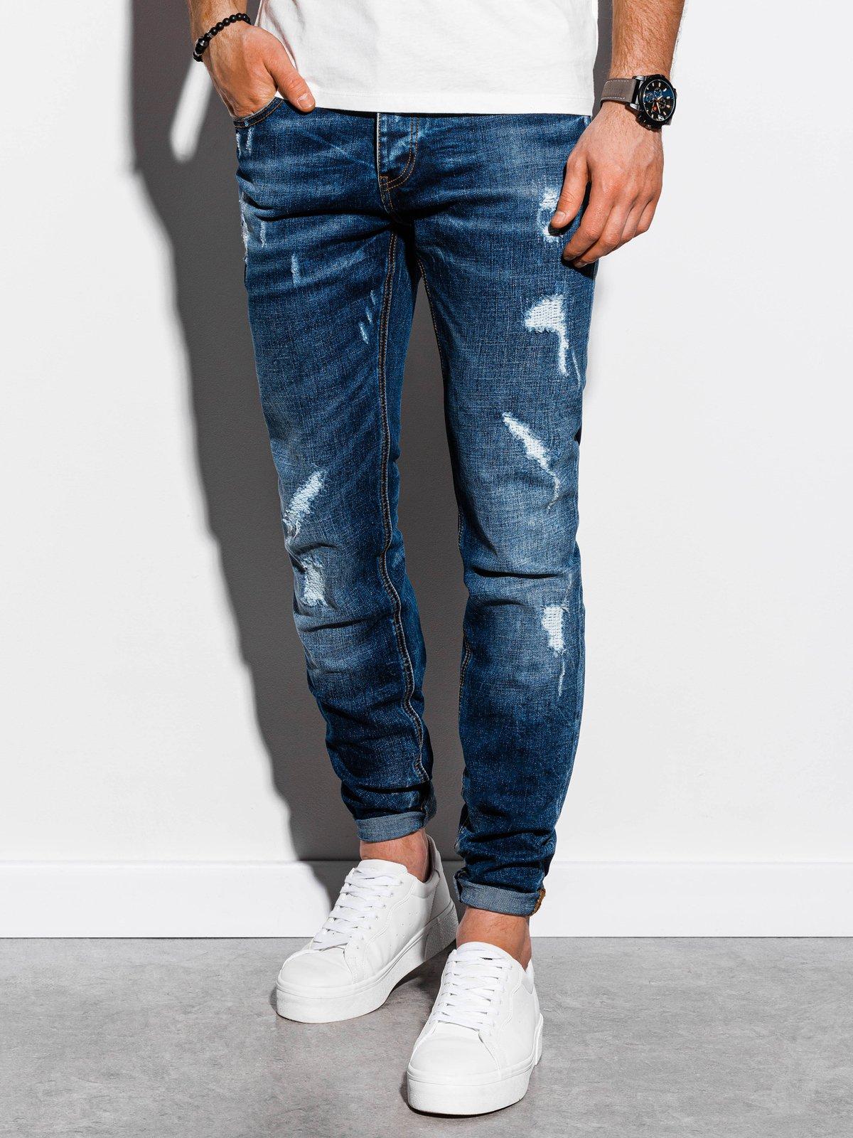 Spodnie męskie jeansowe P861 - niebieskie
