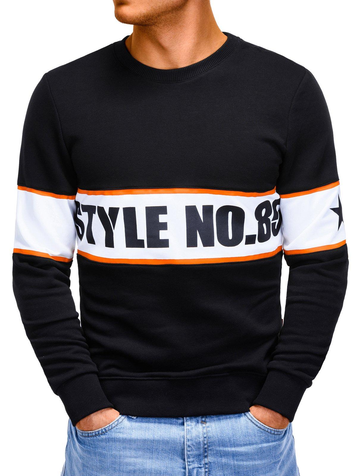 bluzy bluza męska bez kaptura z nadrukiem b926 - czarna - m