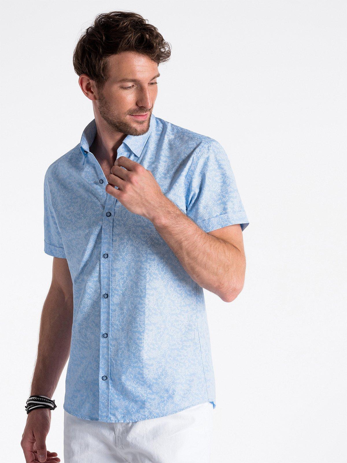 Koszula męska z krótkim rękawem K474 - niebieska/biała