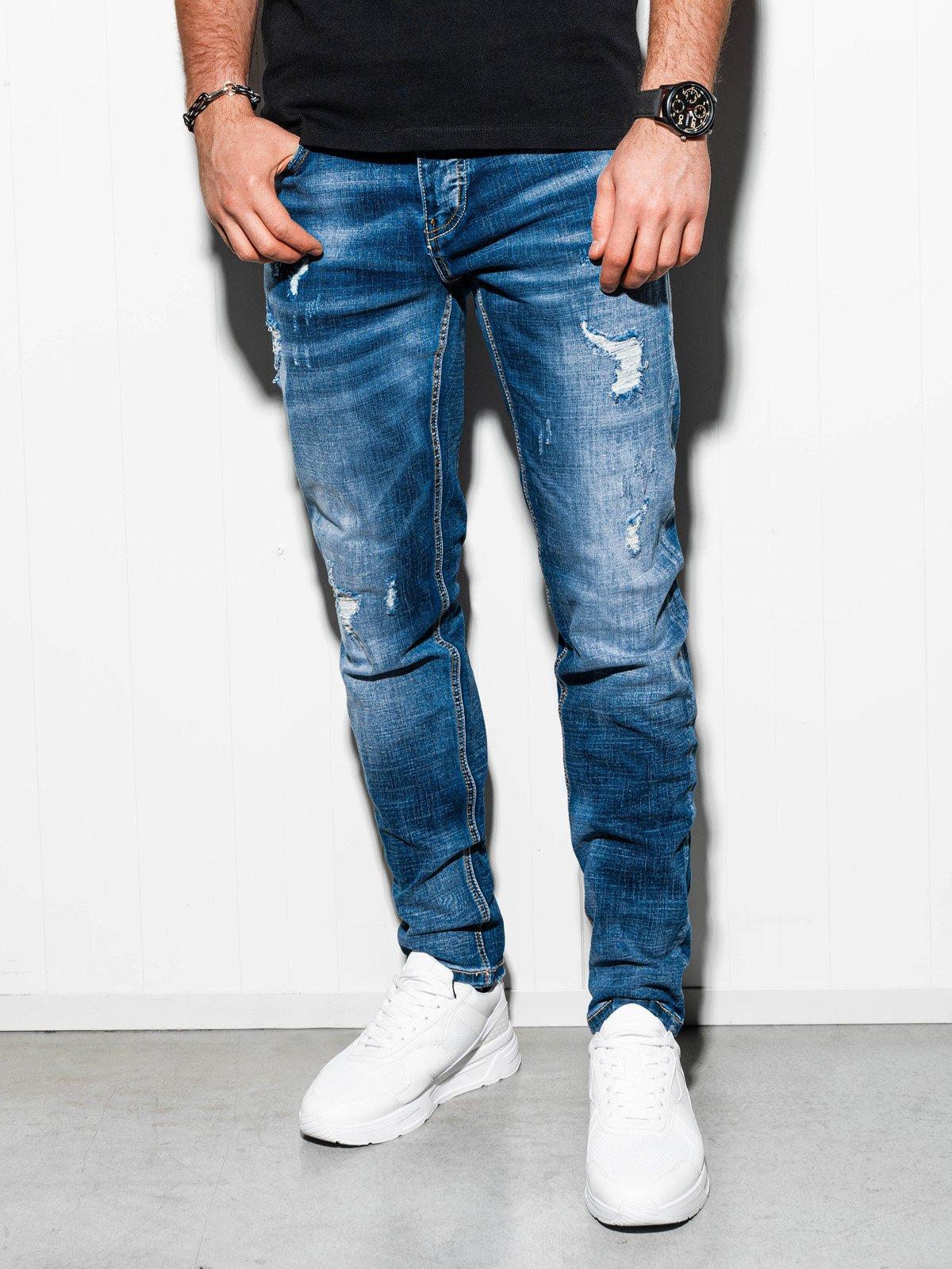 Spodnie męskie jeansowe P856 - niebieskie