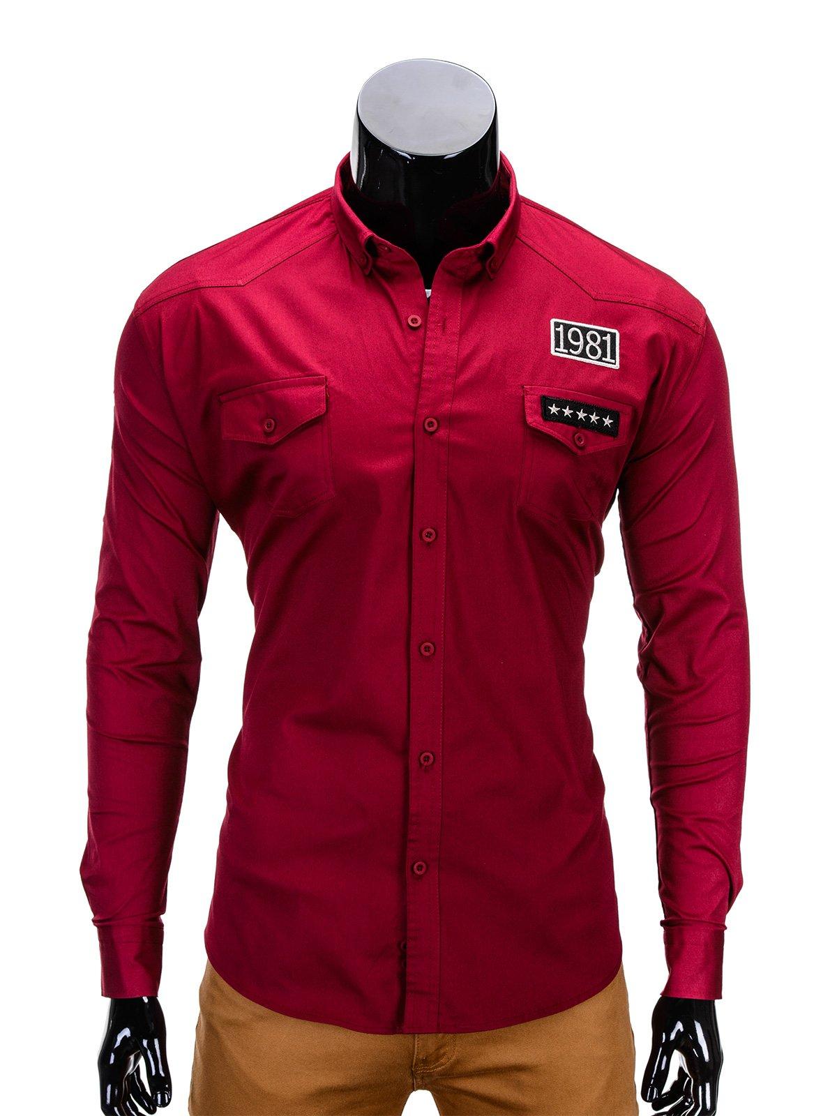 Koszula K306 - Bordowa