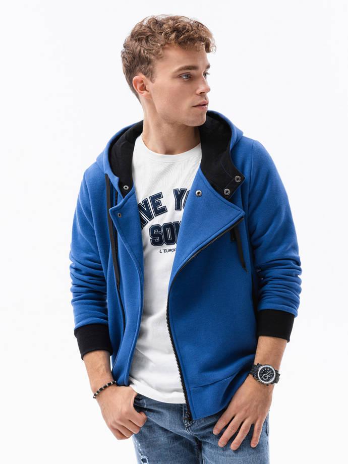 Bluza męska rozpinana z kapturem B297 niebieska