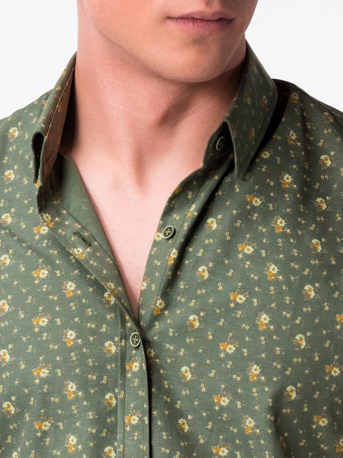 0e084f2dc0aff5 Przejdź do sklepu · Koszula męska z krótkim rękawem K473 – zielona/beżowa |  Ombre | Koszule męskie premium