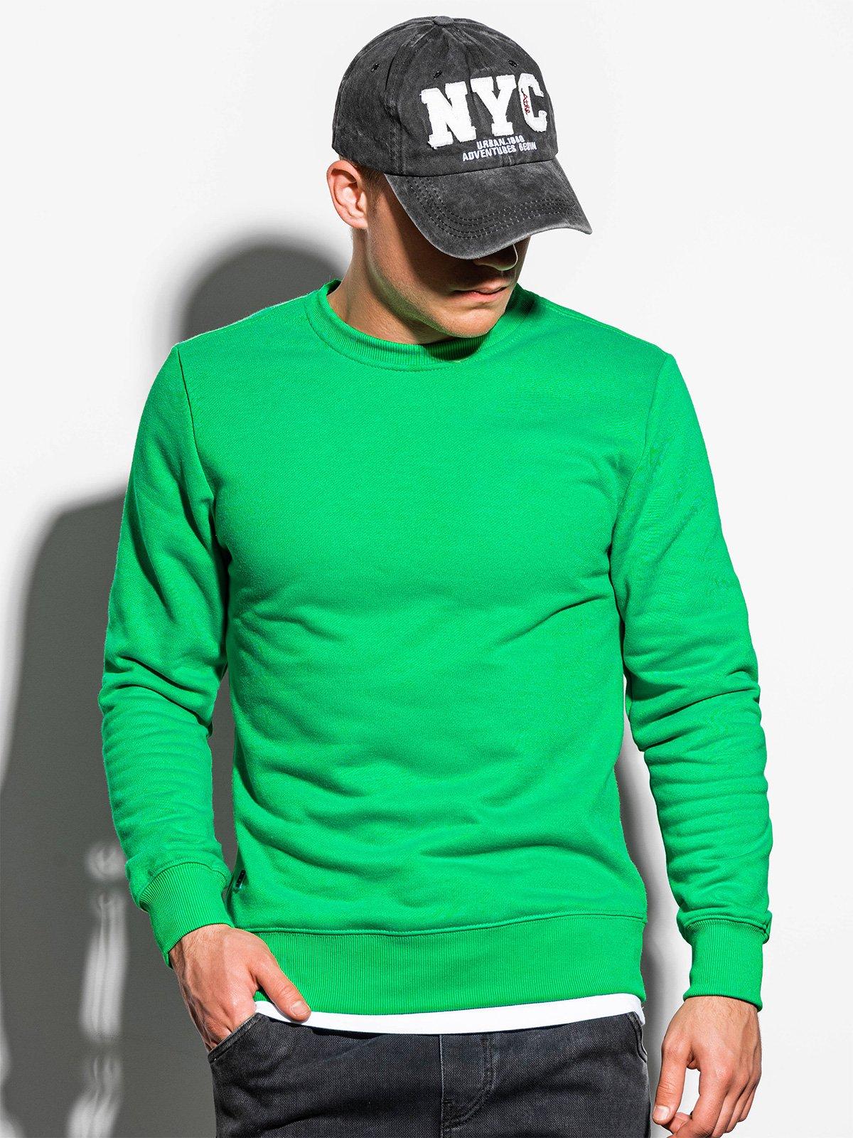 Bluza męska bez kaptura basic B978 zielona L Ceny i opinie