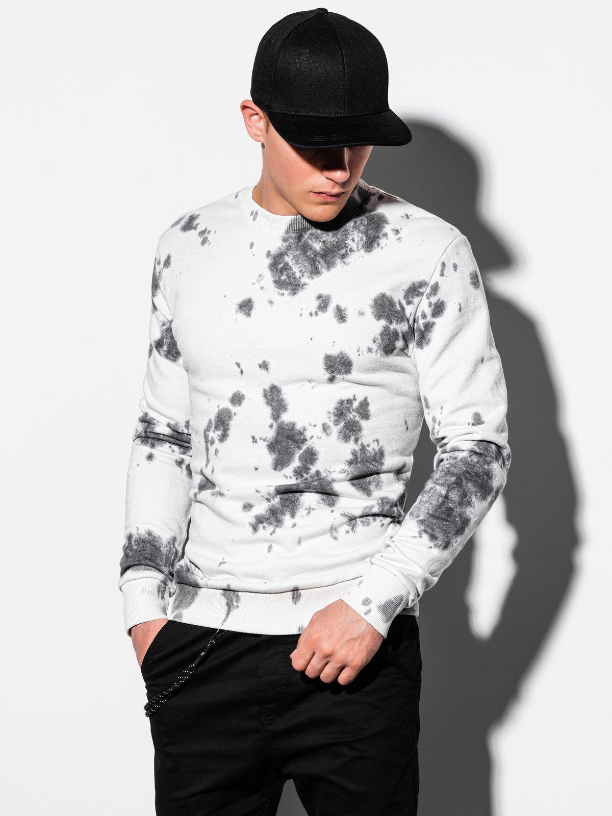 Bluza męska bezkaptura znadrukiem B1044 - biała