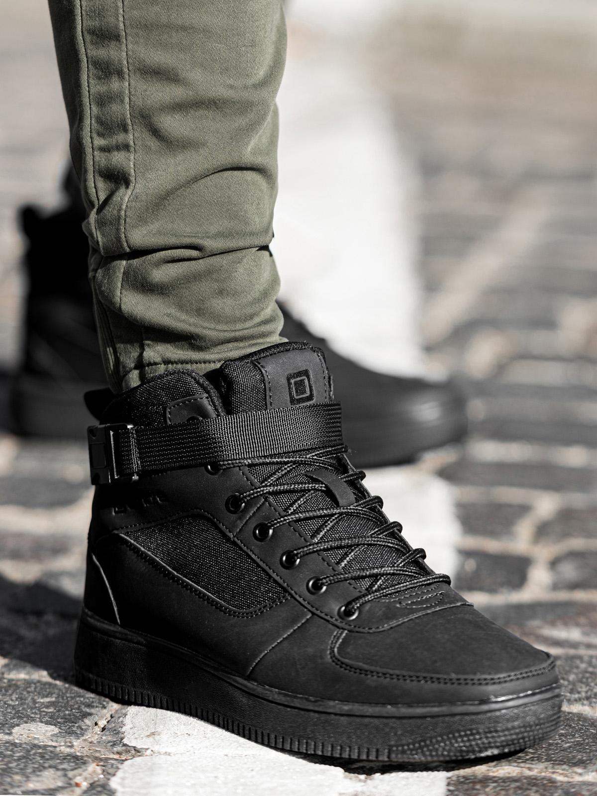 Buty męskie sneakersy T317 czarne Sklep Ombre.pl