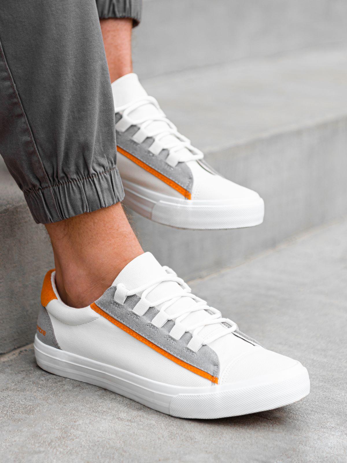 Buty męskie trampki T346 - białe/pomarańczowe