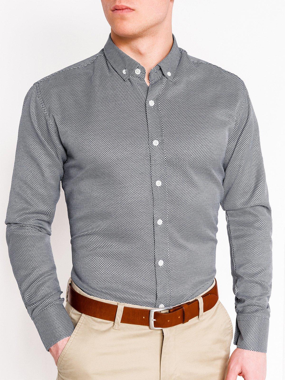 9d473ab06 Koszula męska elegancka z długim rękawem K401 - czarna - Sklep Ombre