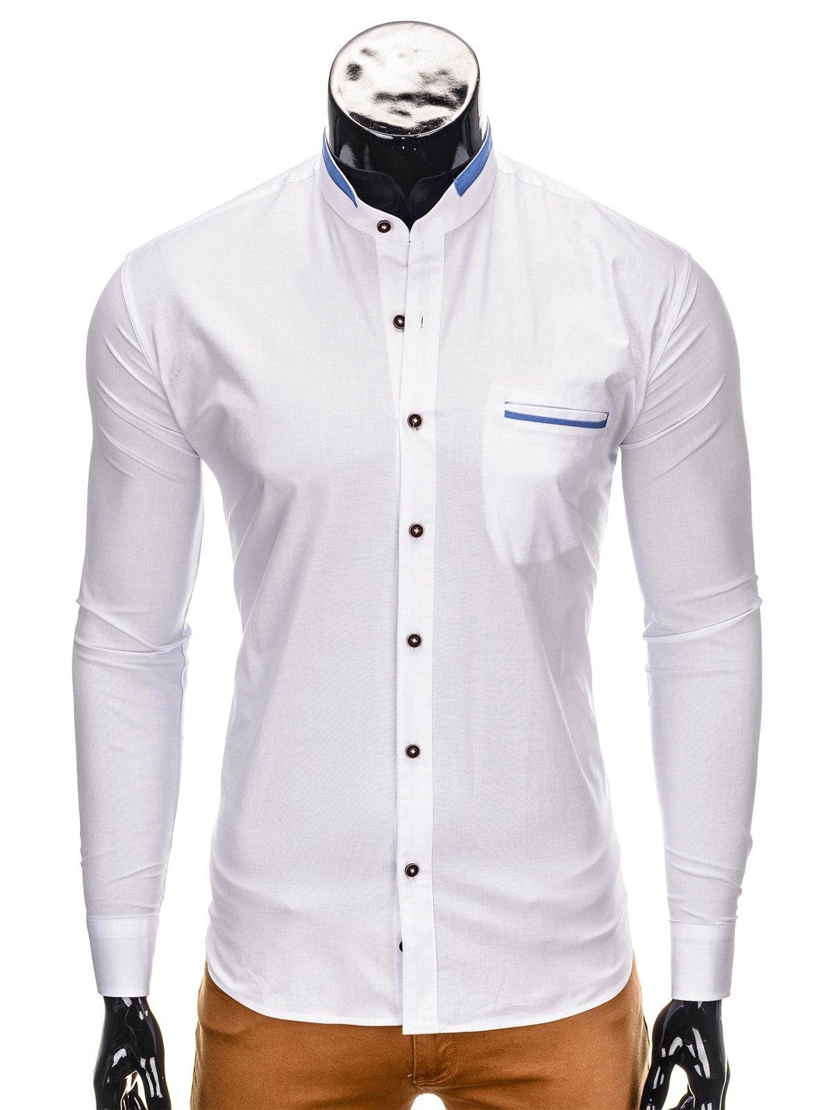 Koszula męska elegancka z długim rękawem K303 biała