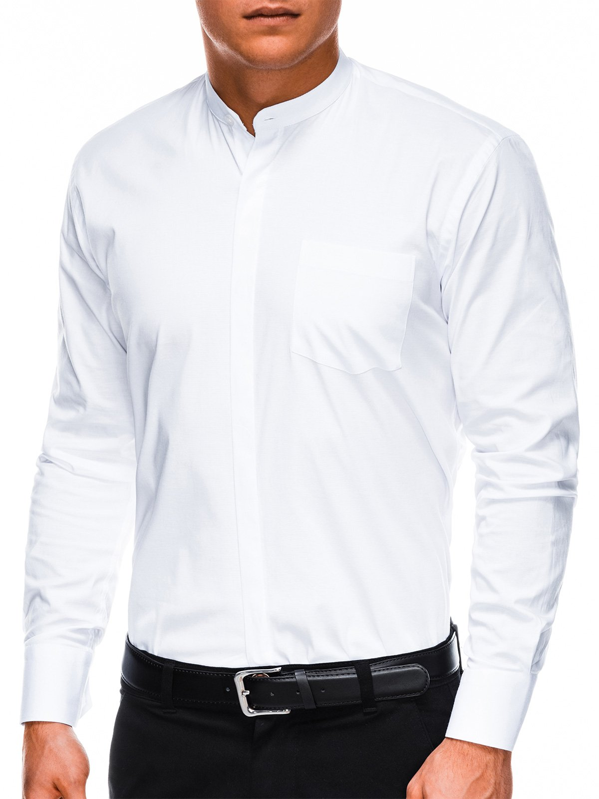 Koszula męska elegancka zdługim rękawem K307 - biała
