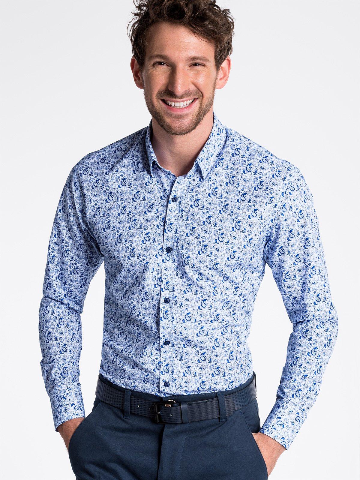 dc6adeb2fb8406 Koszula męska elegancka z długim rękawem K476 - biała/niebieska ...