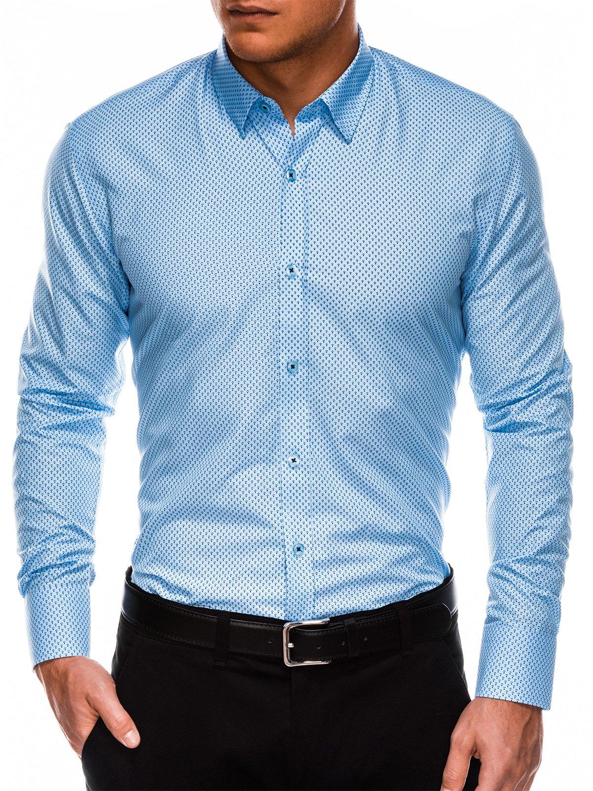 c0cff6d66845e9 Koszula męska elegancka z długim rękawem K479 - niebieska/granatowa ...