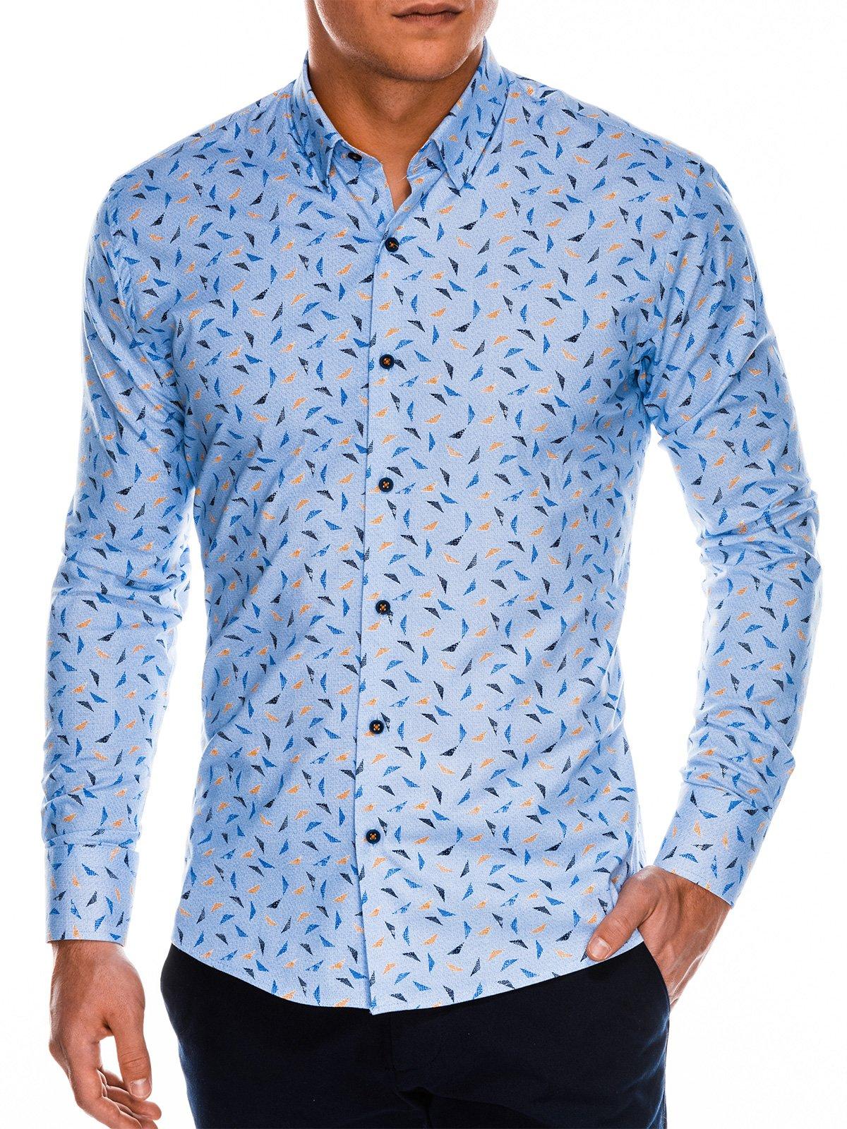 4bd697d9 Koszula męska elegancka z długim rękawem K492 - niebieska