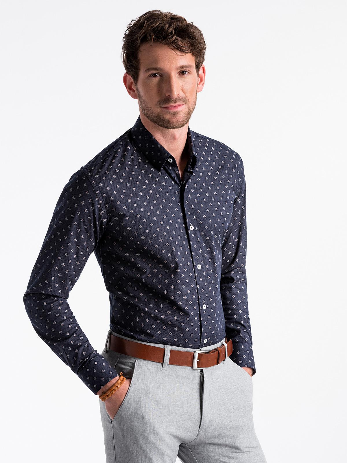 364aa99582e9db Koszula męska elegancka z długim rękawem K494 - ciemnogranatowa ...