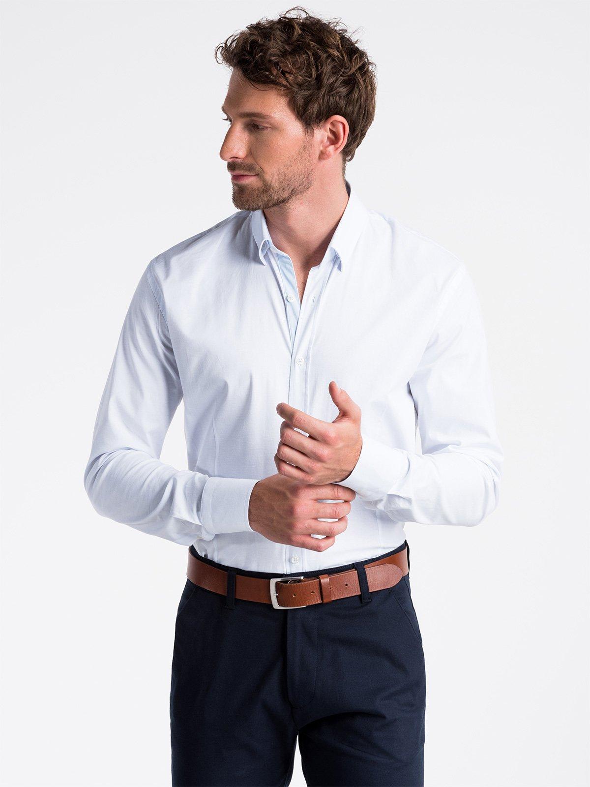 Koszula męska elegancka z długim rękawem K496 biała