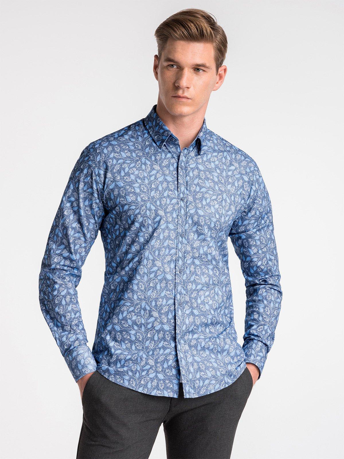 5c2a7bb7389ffc Koszula męska elegancka z długim rękawem K500 - granatowa/niebieska ...