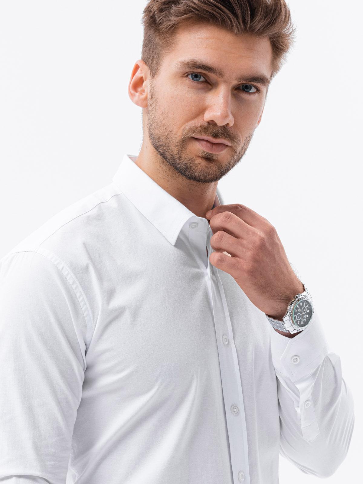 Koszula męska slim zdługim rękawem K504 - biała