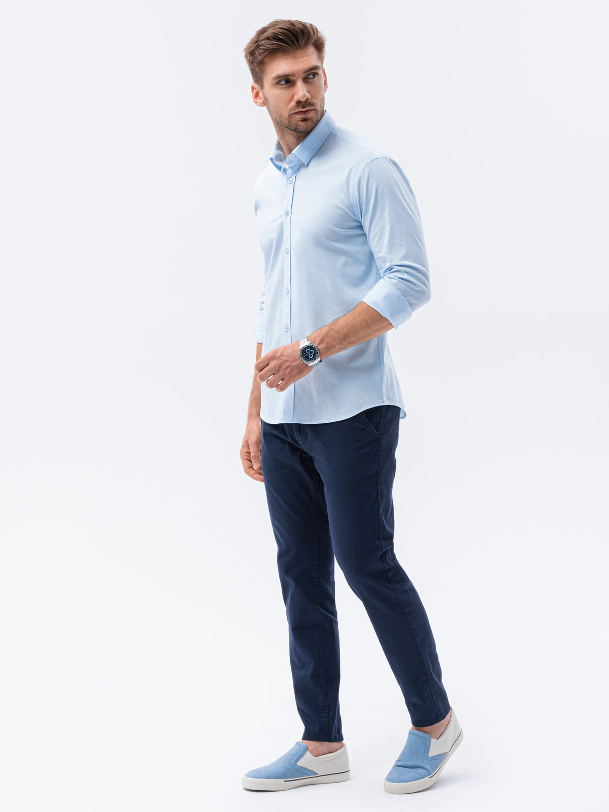 Koszula męska slim zdługim rękawem K504 - błękitna