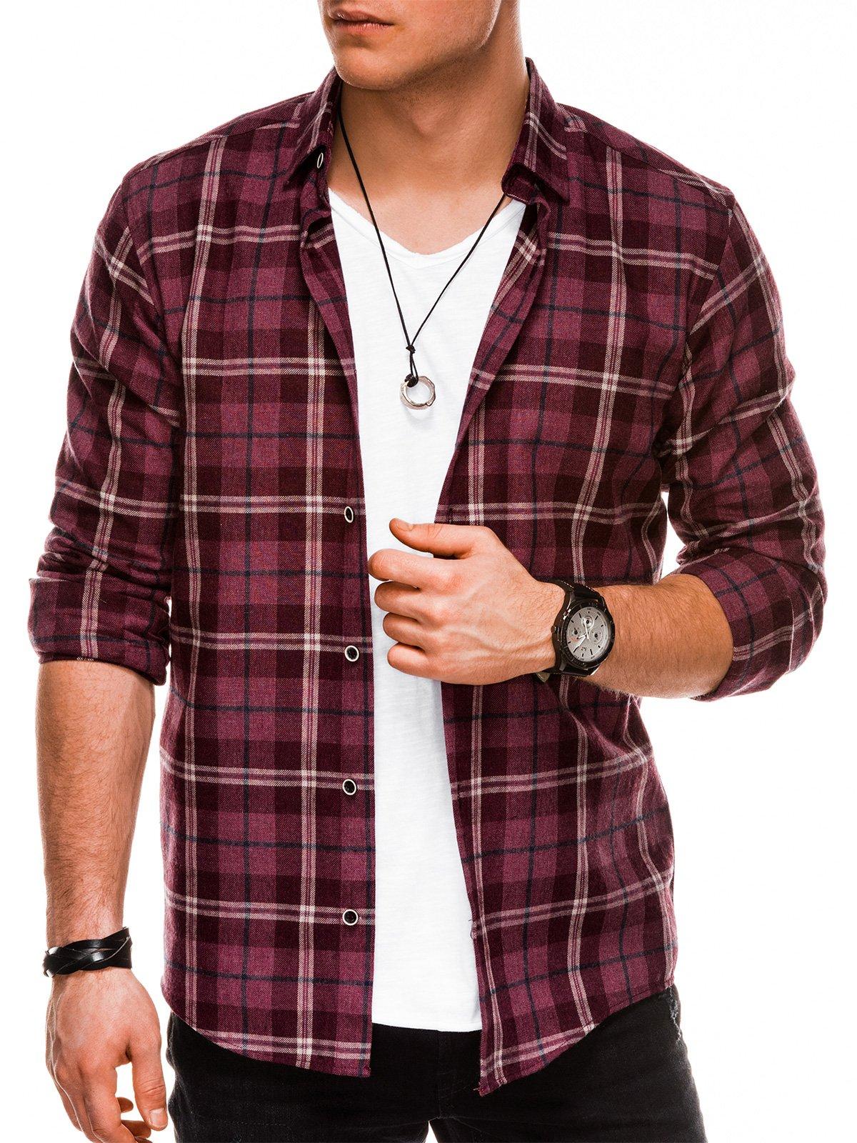 Koszula męska wkratę zdługim rękawem K511 - bordowa