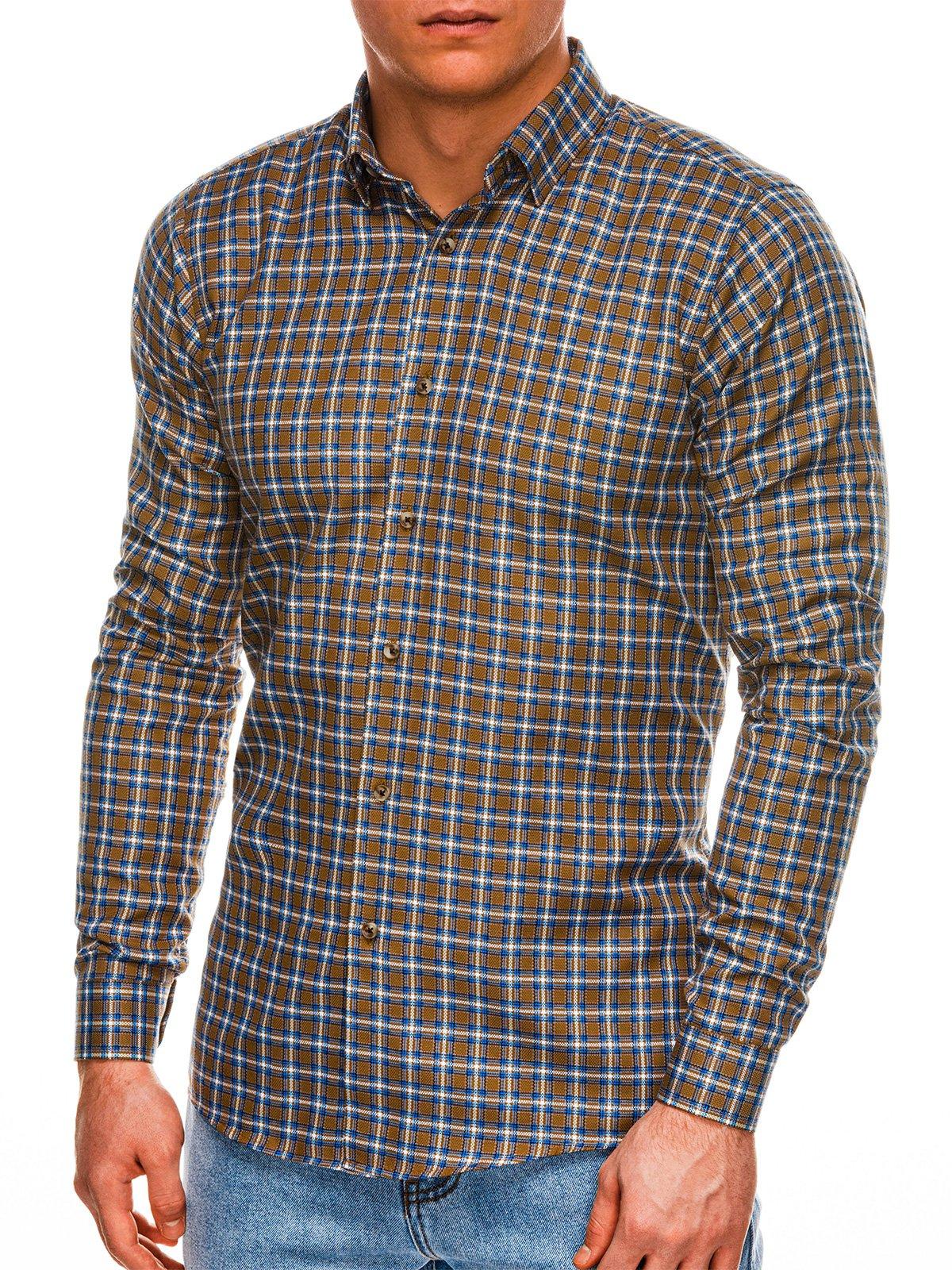 Koszula męska wkratę zdługim rękawem K520 - brązowa
