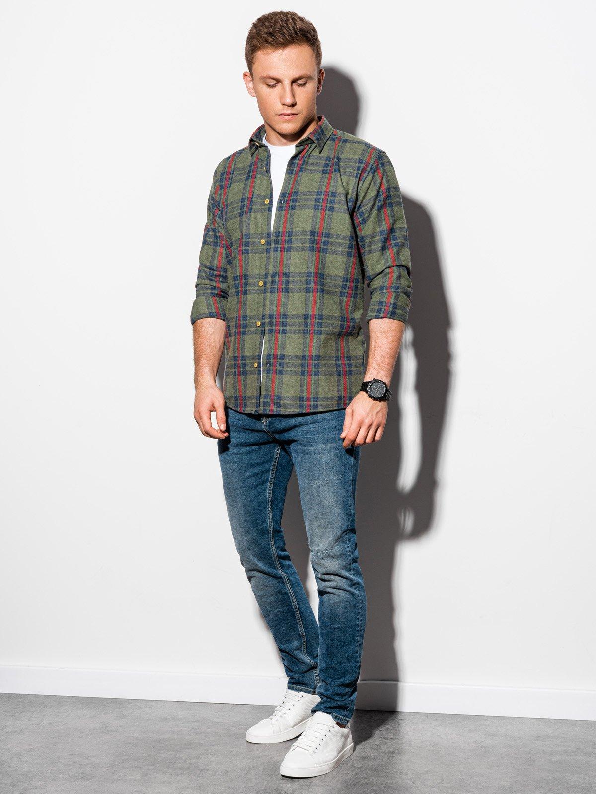 Koszula męska wkratę zdługim rękawem K562 - khaki