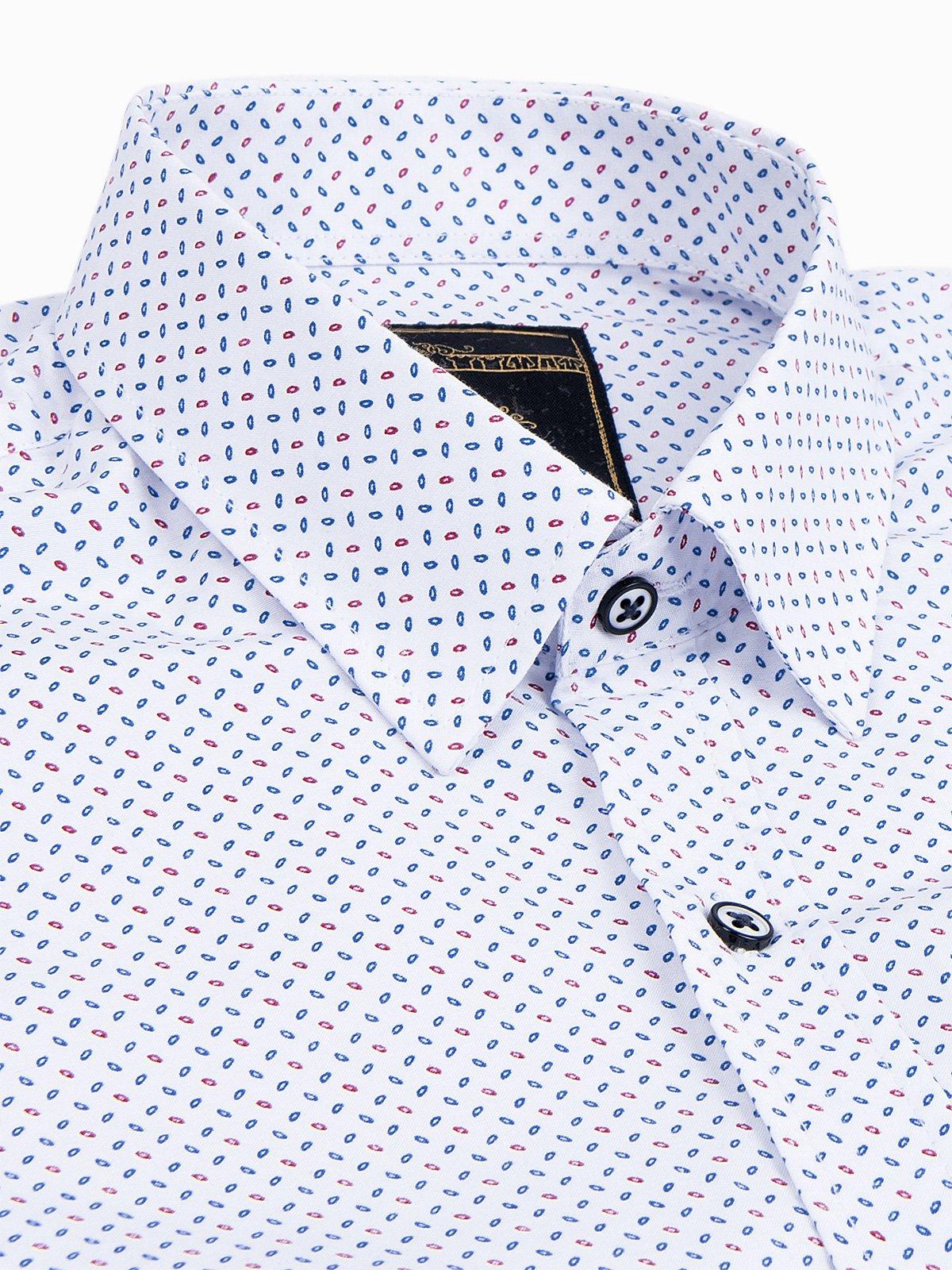 Koszula męska zdługim rękawem K477 - biała/niebieska